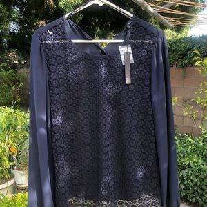 Ro & De Tops - Navy Blue long sleeved blouse